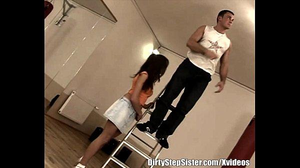 Stepsister In Sexy Jean Skirt Fucks Her Step...