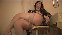 Big Tits Mature Babe In Stockings And Satin Sli...