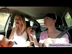 Jessie Andreews and Dana deArmond lick n rub pussies in car
