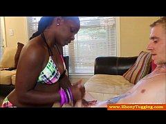 Young ebony babe in swimwear jerks dude