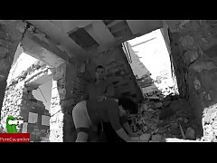 Pussy's food and accident in the ruins. SAN012