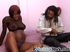 Preggo ebony sucks and rides BBC