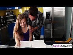 Step daughter Marissa Mae helps step dad by ban...