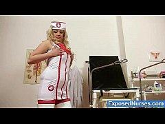 Chubby busty blond babe Jennifer in uniform
