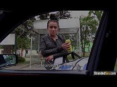 Euro teen Vanessa rides a cock home