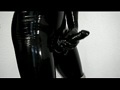 Trying on my new tight, shiny latex pants and g...
