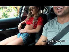 Blonde stranded teen sucking cock in car