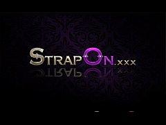 StrapOn Hot European brunette pegging her boyfr...