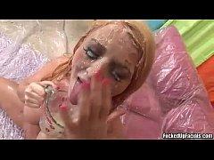 Sophie Dee cum bath by 15 inch huge monster cocks