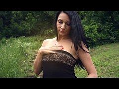 Black haired MILF Kat mastubates outdoors - see...