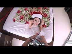 POVD - Little brunette Marina woods gets her pussy fucked for christmas