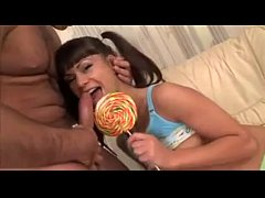 Pigtails teen licks lollipop and cock, name?