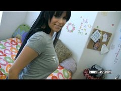 Cute college girl Chloe James is playing with h...
