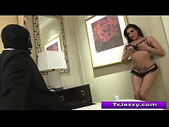 Ts Jessy Dubai fucks her client in mouth with her hard cock