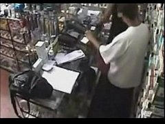 Real ! Employee getting a Blowjob Behind the Co...