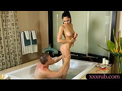 Sexy babe gives nuru masage and pounded by her ...