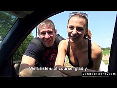 Hitchhiker couple fucking in car of stranger