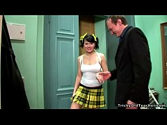 Tricky Old Teacher - Black-haired young chick g...