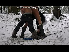 Horny and romantic couple sex on a cold snowy day