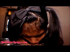 HD Thai Teen Heather Deep gives deepthroat thro...