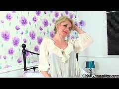 British milfs Sexy P and Diana in stockings wit...