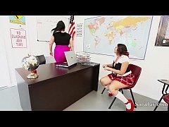 Teachers Sara Jay & Angelina Castro Fuck Pupil Gia in Class!