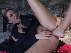 Mandy Bright gets her pussy attacked