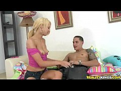 Hot blonde rides that cock with fury