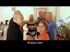 Seven grandpas gang bangs teeny blonde at a meeting