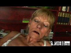 Dirty blonde grandma gets fucked before sucking...