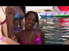 Tranny Orgy in the pool