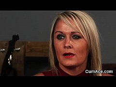 Spicy honey gets sperm load on her face gulping...