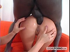 2 hot blondes and a big black cock having a thr...