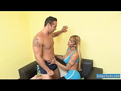 Curvy shemale Celeste and a guy fucking in many...
