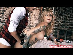 Bigtitted inked pornstar babe gets assfucked