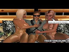 Two naughty 3d cartoon strippers with blonde hair