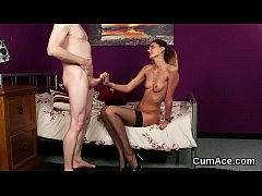 Foxy babe gets cumshot on her face eating all t...