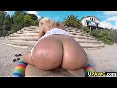 Big Booty Blondie Fesser twerking in Europe