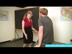 Mature teacher in spex sucking student after gl...