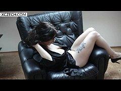 Czech titty lady drinking wine and spreading legs - XCZECH.com