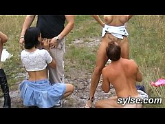 Orgy and dildo outdoor