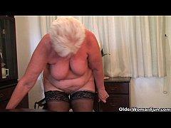 British and full figured granny Sandie masturba...