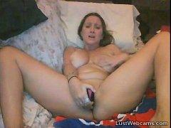 Blonde girl toys herself on webcam