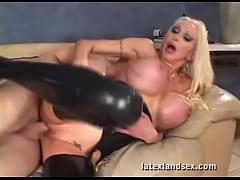 Latex Busty Blonde in kinky hardcore sex