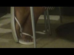 White Flip Flops Ebony Feet