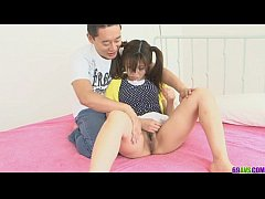 Ponytailed Asian chick shaved and nailed by two...