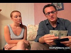 Husband licks babysitters pussy