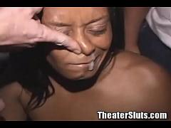 Busty Ebony mama on Porn Theater Gangbang