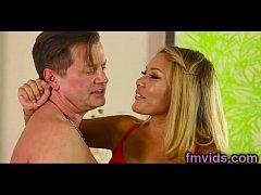 Sexy blonde Mena Mason with horny guy