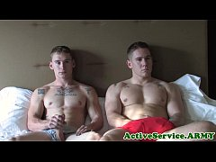 Military muscle assfucked after masturbating